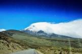 Der Chimborazo mit Schnee und Nebelschleier