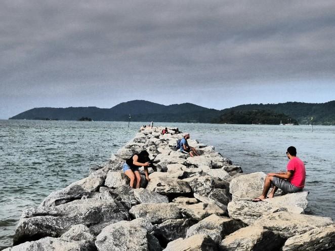 Der Steinsteg am Strand,